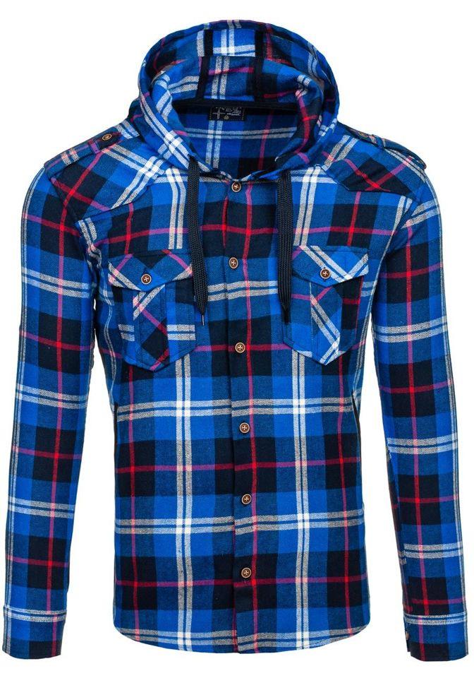 Modrá pánská flanelová košile s dlouhým rukávem Bolf 2500