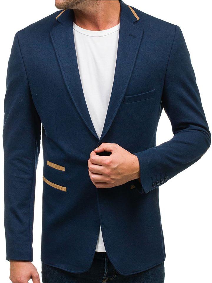 Tmavě modré pánské elegantní sako Bolf 9400