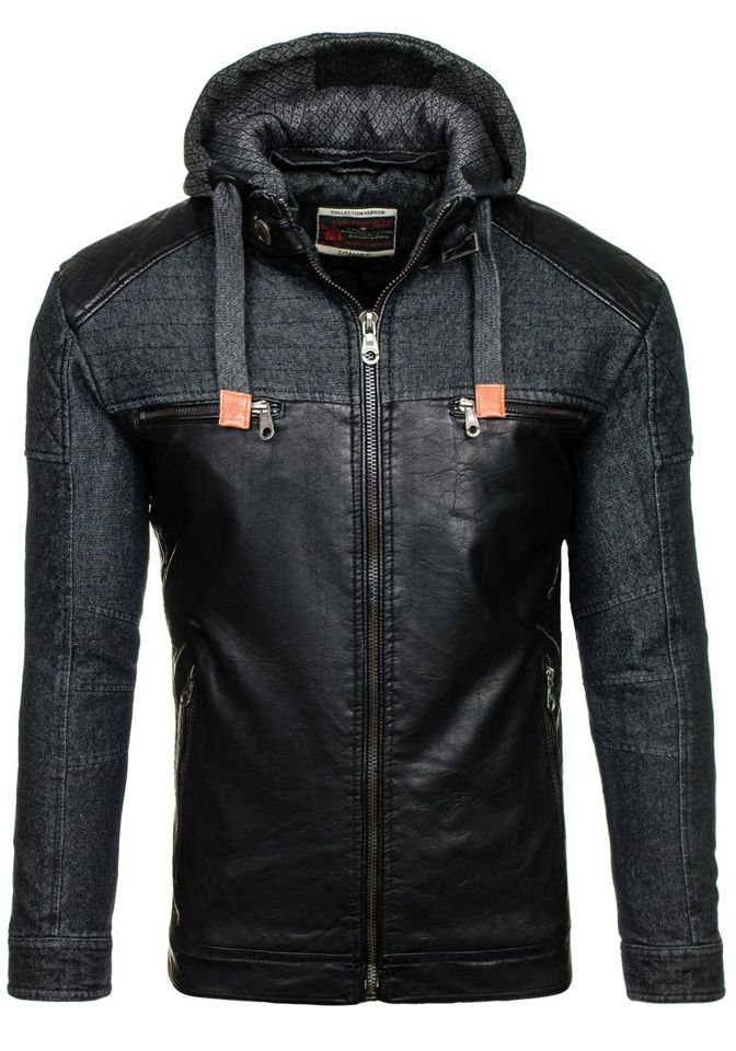 Černá pánská kožená bunda z ekokůže Bolf EX361
