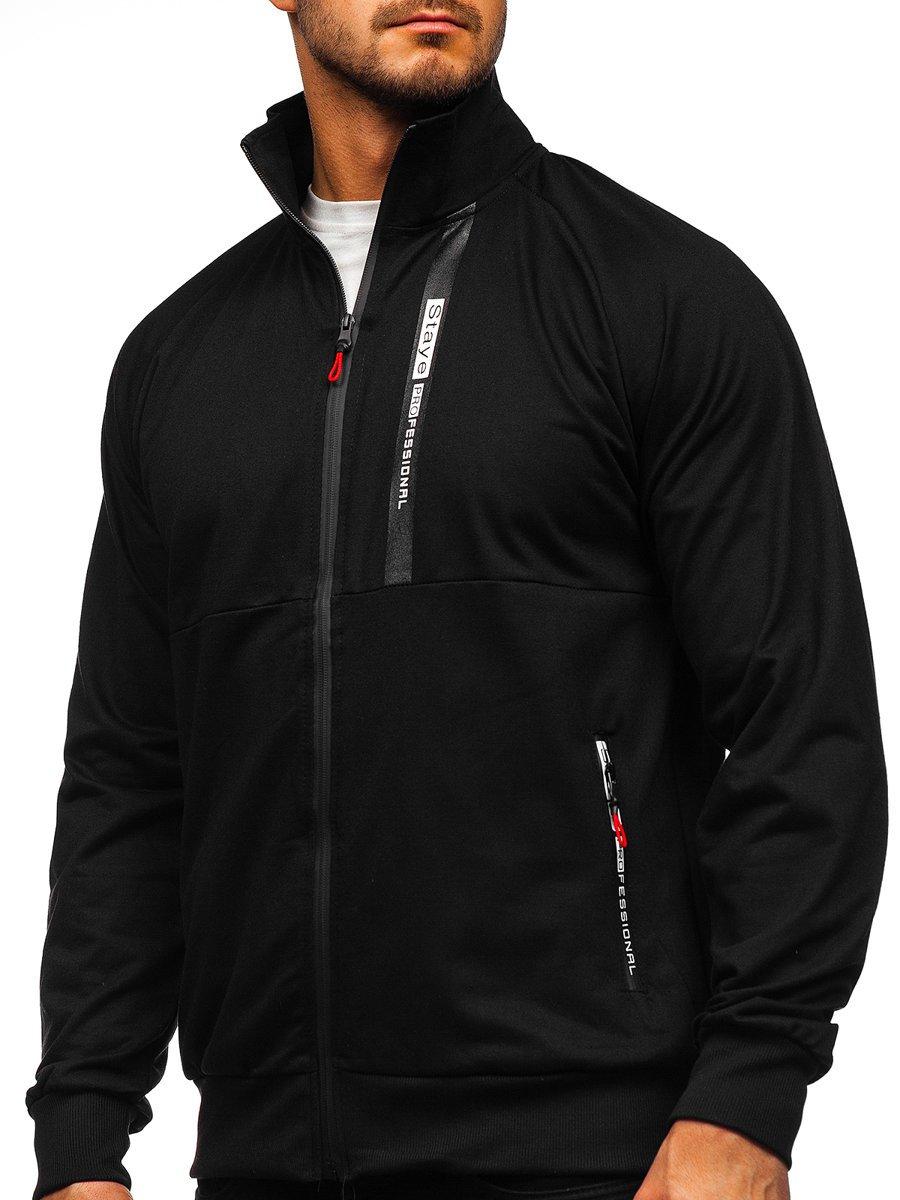 Černá pánská mikina na zip bez kapuce Bolf JX9919
