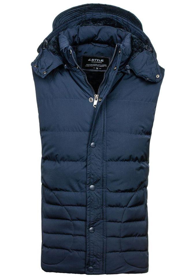 Pánská tmavě modrá prošívaná vesta s kapucí Bolf 501