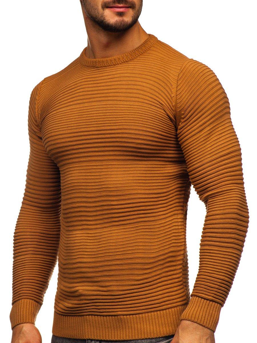 Levně Hnědý pánský svetr Bolf 4608