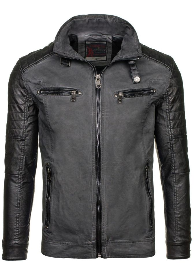 Grafitová pánská kožená bunda z ekokůže Bolf EX309