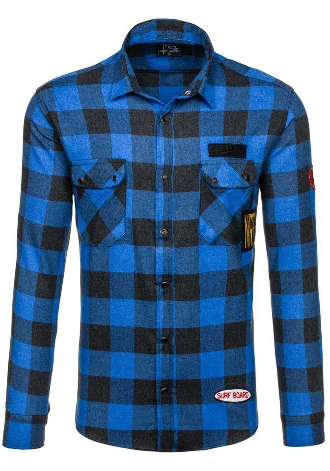Modrá pánská flanelová košile s dlouhým rukávem Bolf 2503