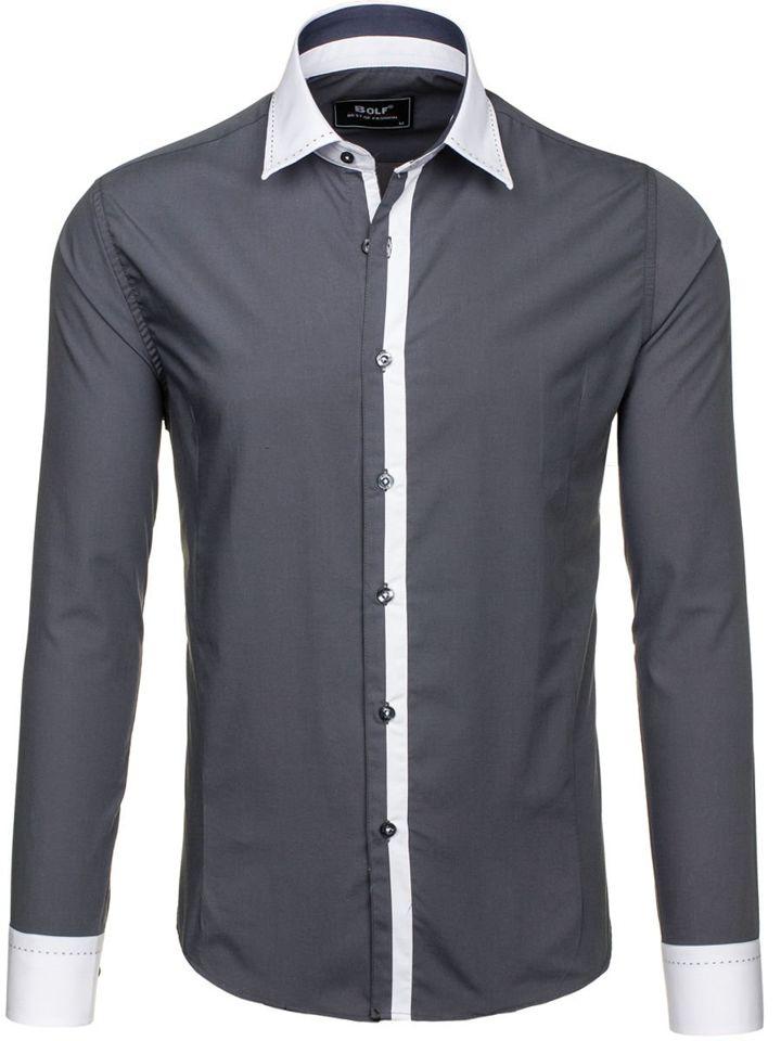 Grafitová pánská elegantní košile s dlouhým rukávem Bolf 6957