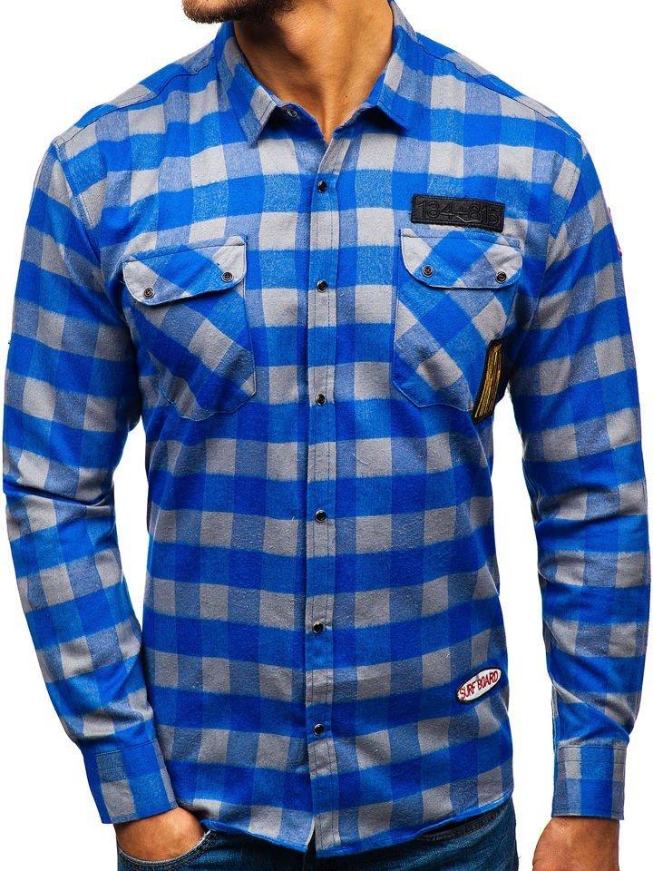 6e8896aba47 Modro-šedá pánská flanelová košile s dlouhým rukávem Bolf 2503