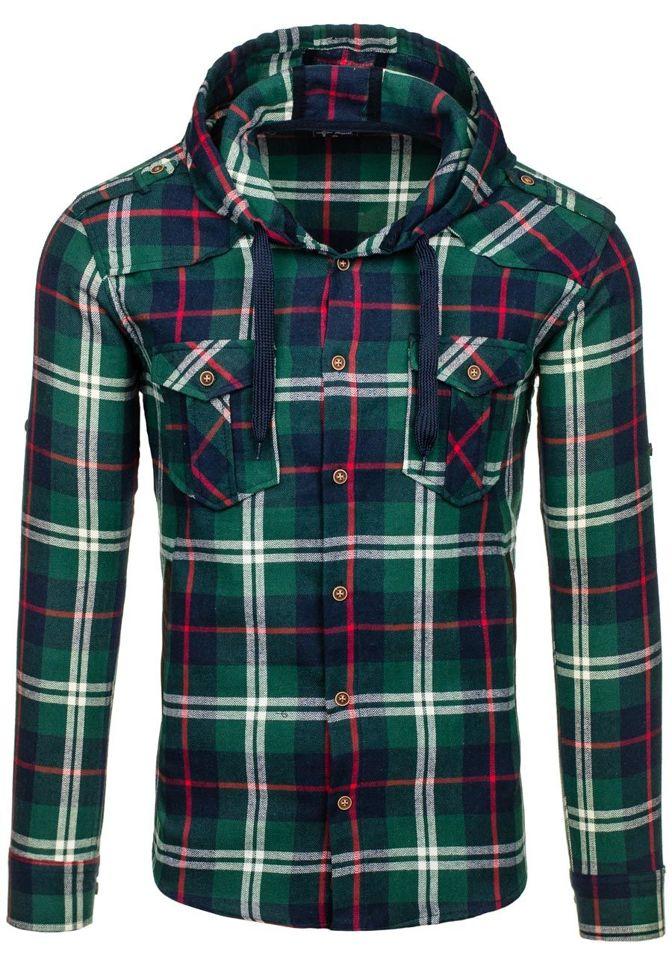 Zelená pánská flanelová košile s dlouhým rukávem Bolf 2500