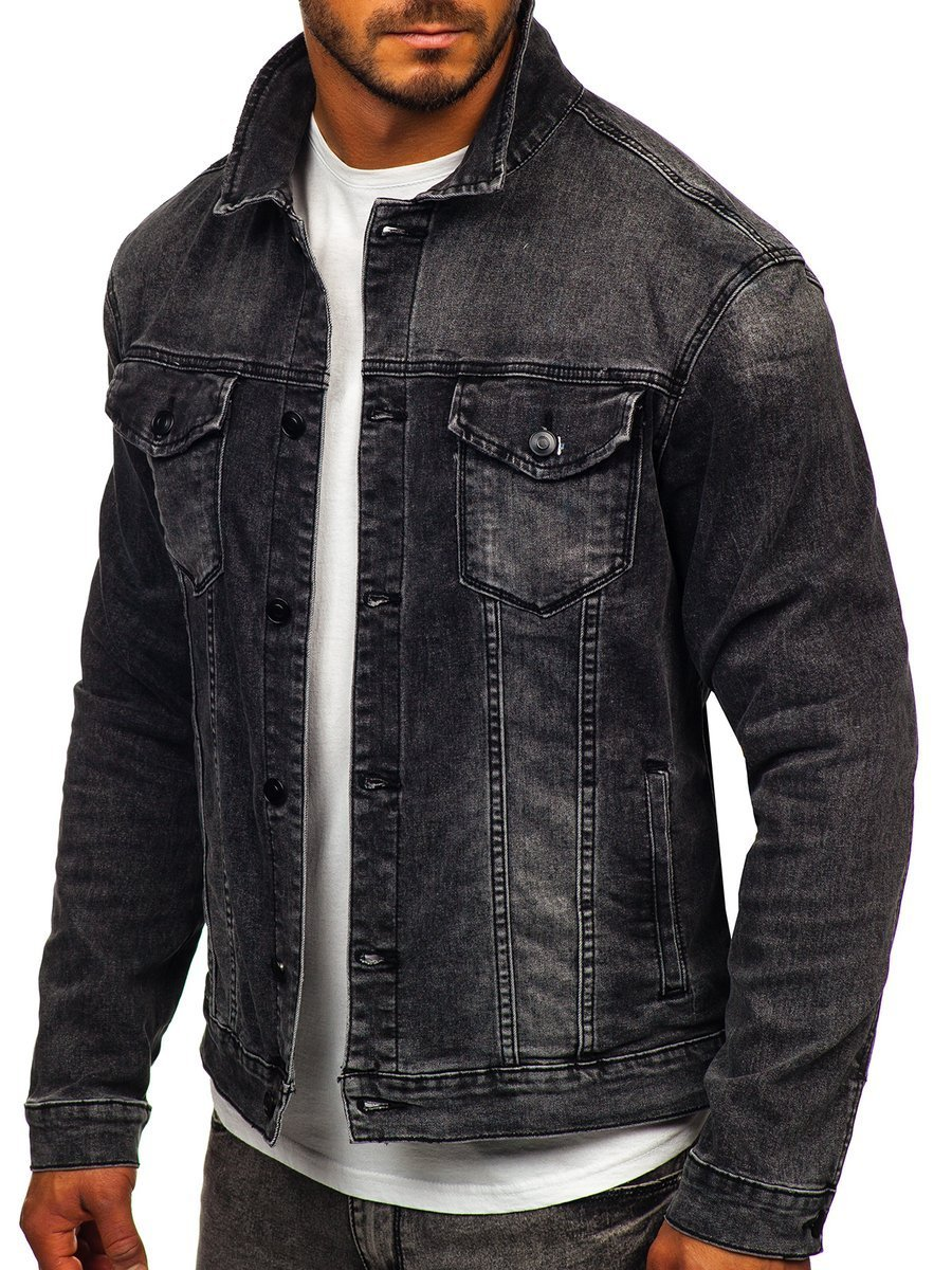 Černá pánská džínová bunda Bolf XSF78268