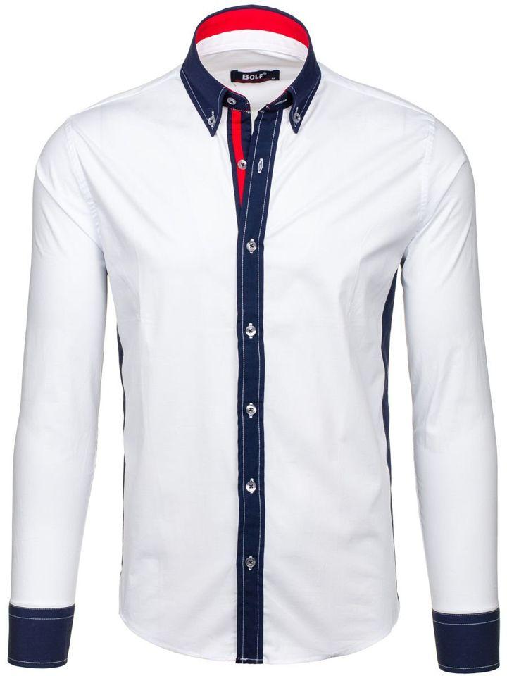 Bílá pánská elegantní košile s dlouhým rukávem Bolf 7701