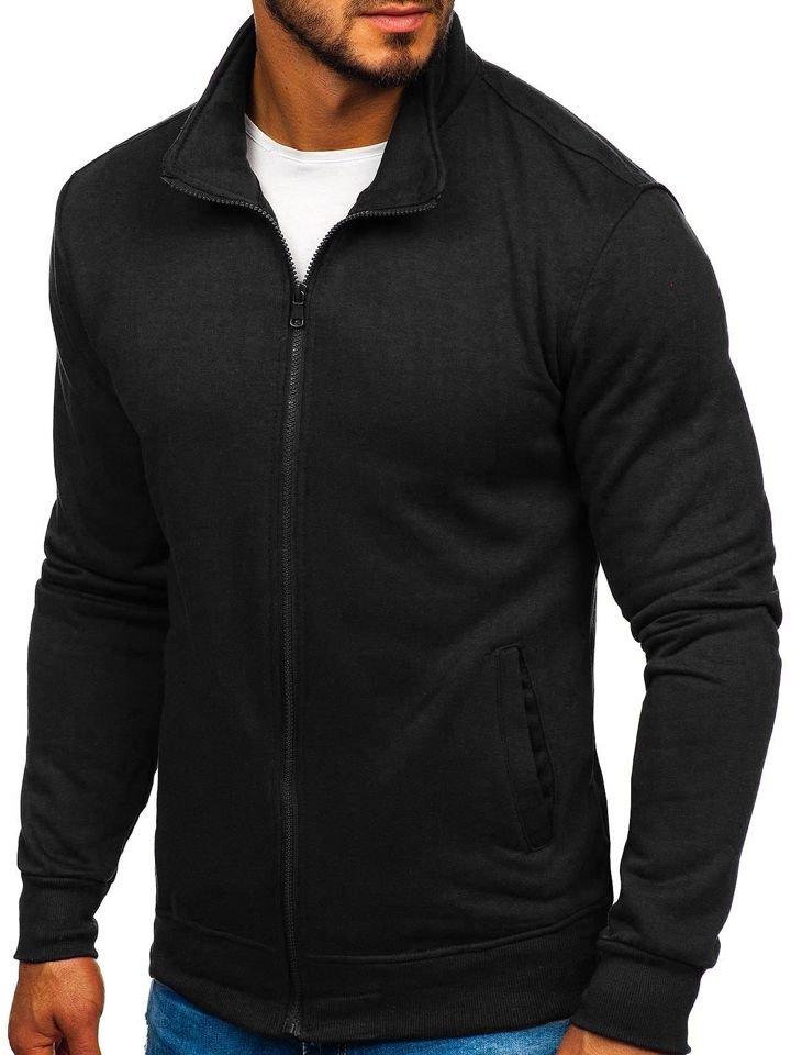 Černá pánská mikina na zip bez kapuce Bolf B002