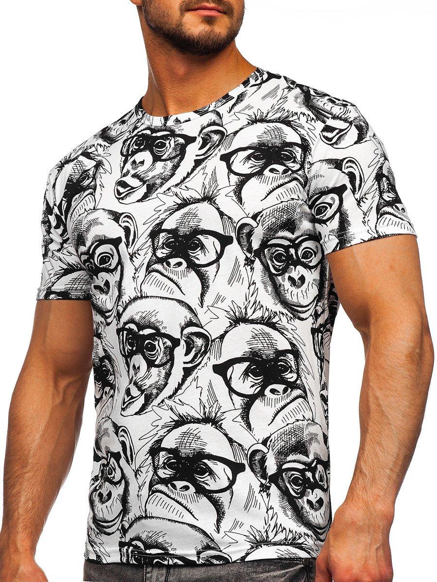 Levně Bílé pánské tričko s potiskem Bolf 14929