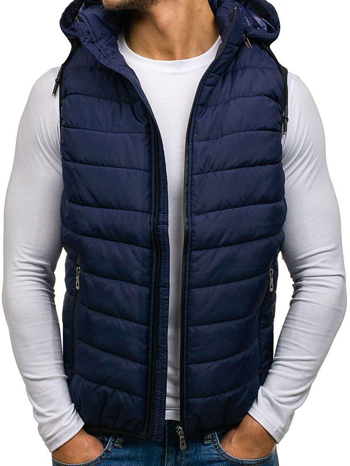 Tmavě modrá pánská prošívaná vesta s kapucí Bolf 1006