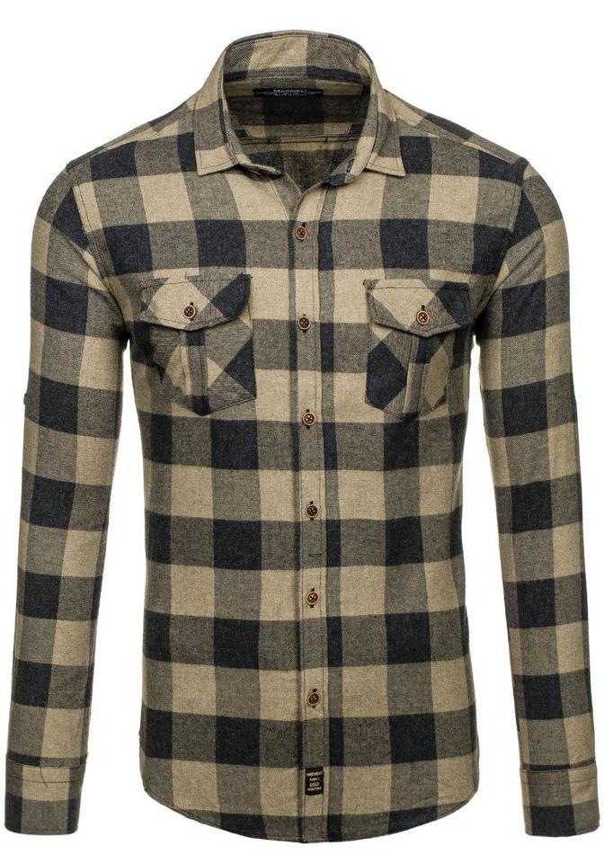 Béžová pánská flanelová košile s dlouhým rukávem Bolf 1770