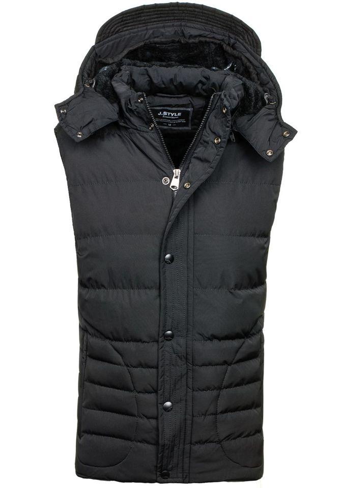 Pánská černá prošívaná vesta s kapucí Bolf 501