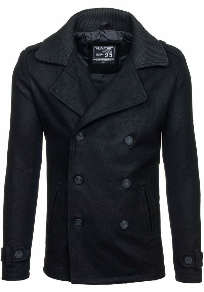 Černý pánský zimní kabát Bolf 1784