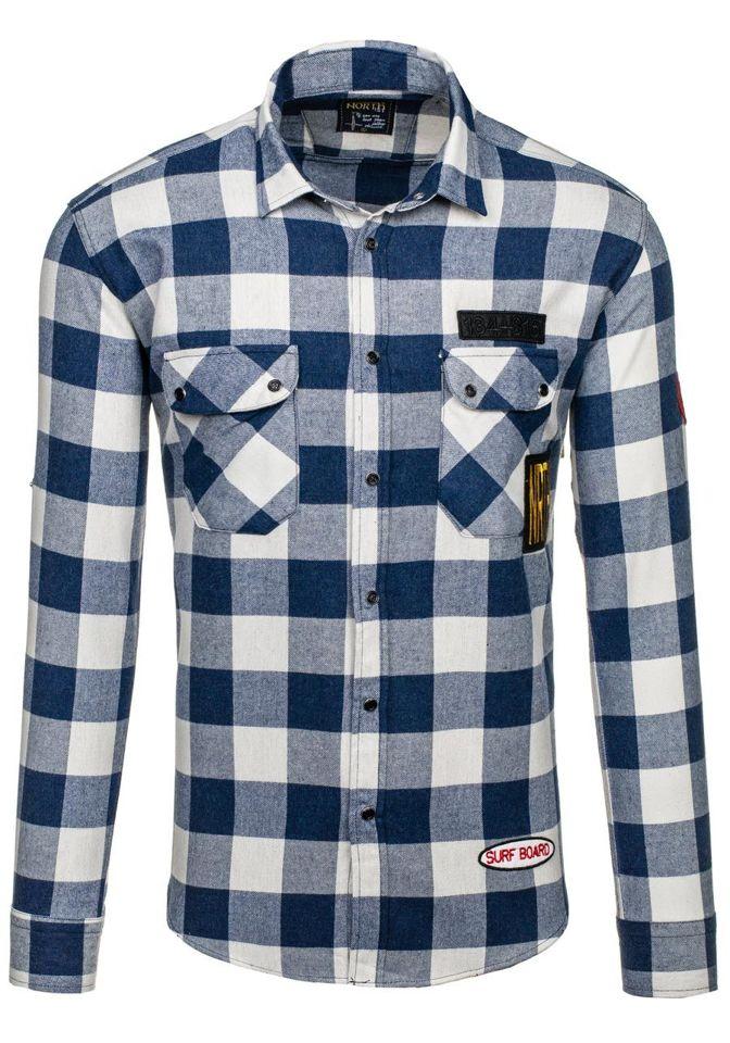 Tmavě modrá pánská flanelová košile s dlouhým rukávem Bolf 2503