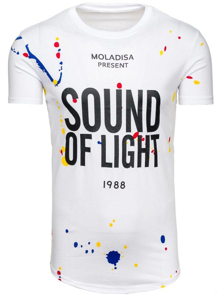 Bílé pánské tričko s potiskem Bolf S031