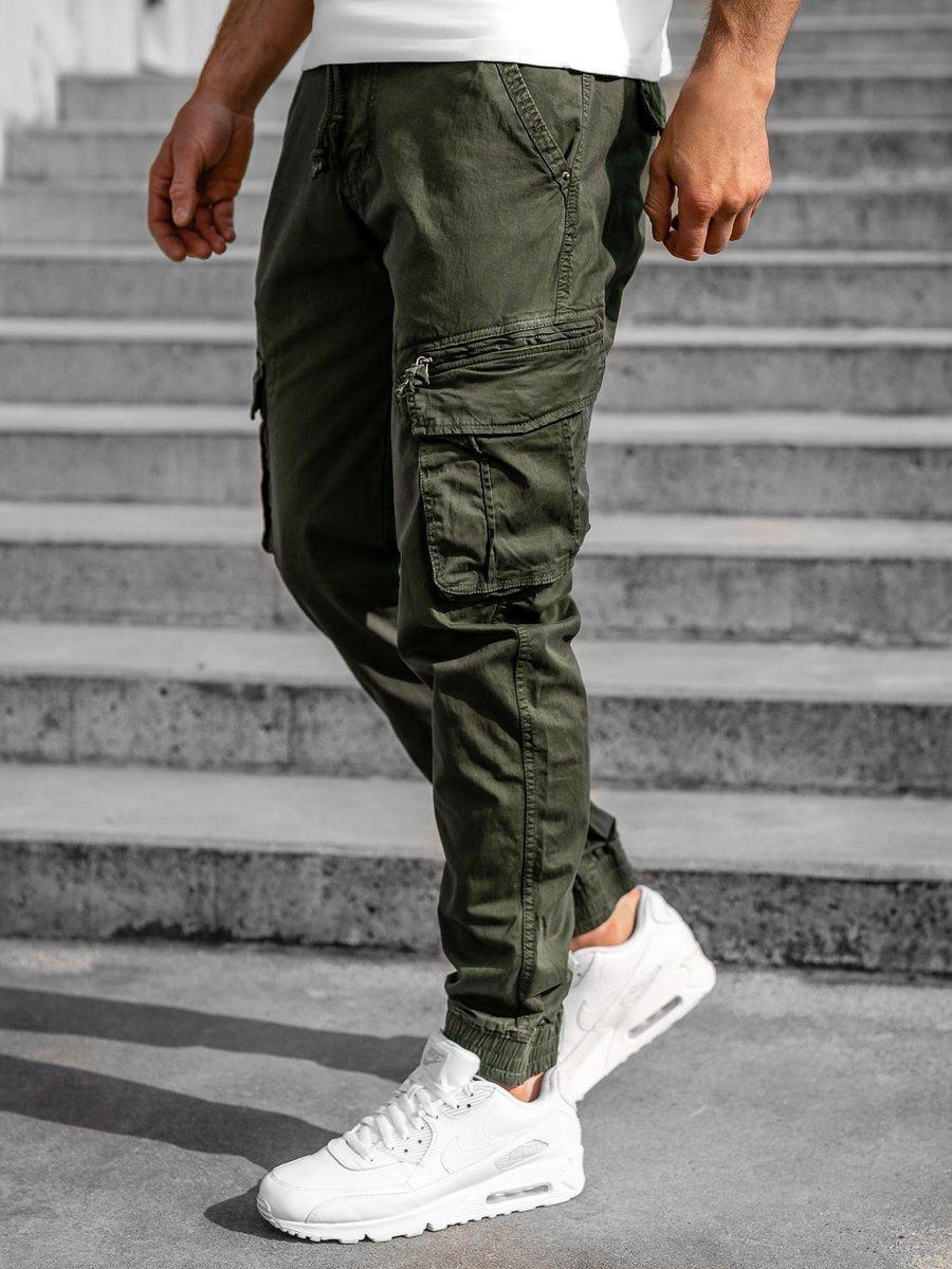 Levně Tmavě zelené pánské jogger kapsáče Bolf CT6707S0