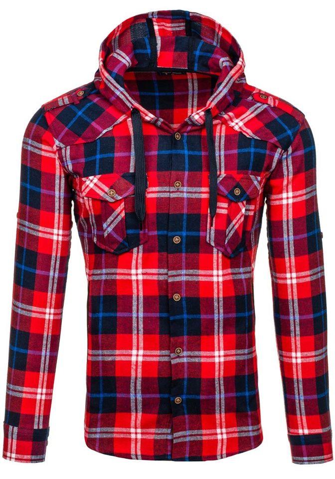 Červená pánská flanelová košile s dlouhým rukávem Bolf 2500
