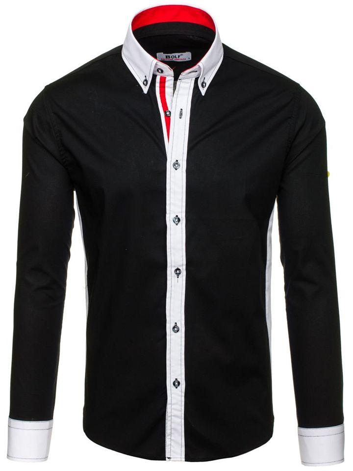 Černá pánská elegantní košile s dlouhým rukávem Bolf 7701