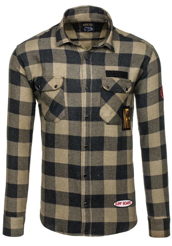 Béžová pánská flanelová košile s dlouhým rukávem Bolf 2503