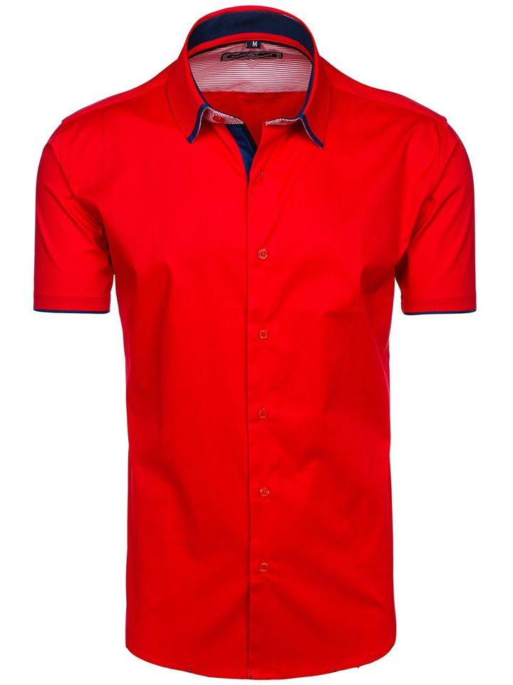 Červená pánská elegantní košile s krátkým rukávem Bolf GE1