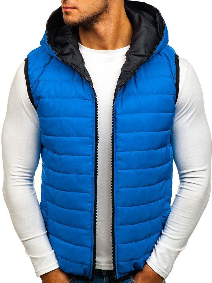 Modrá pánská vesta s kapucí Bolf AK87