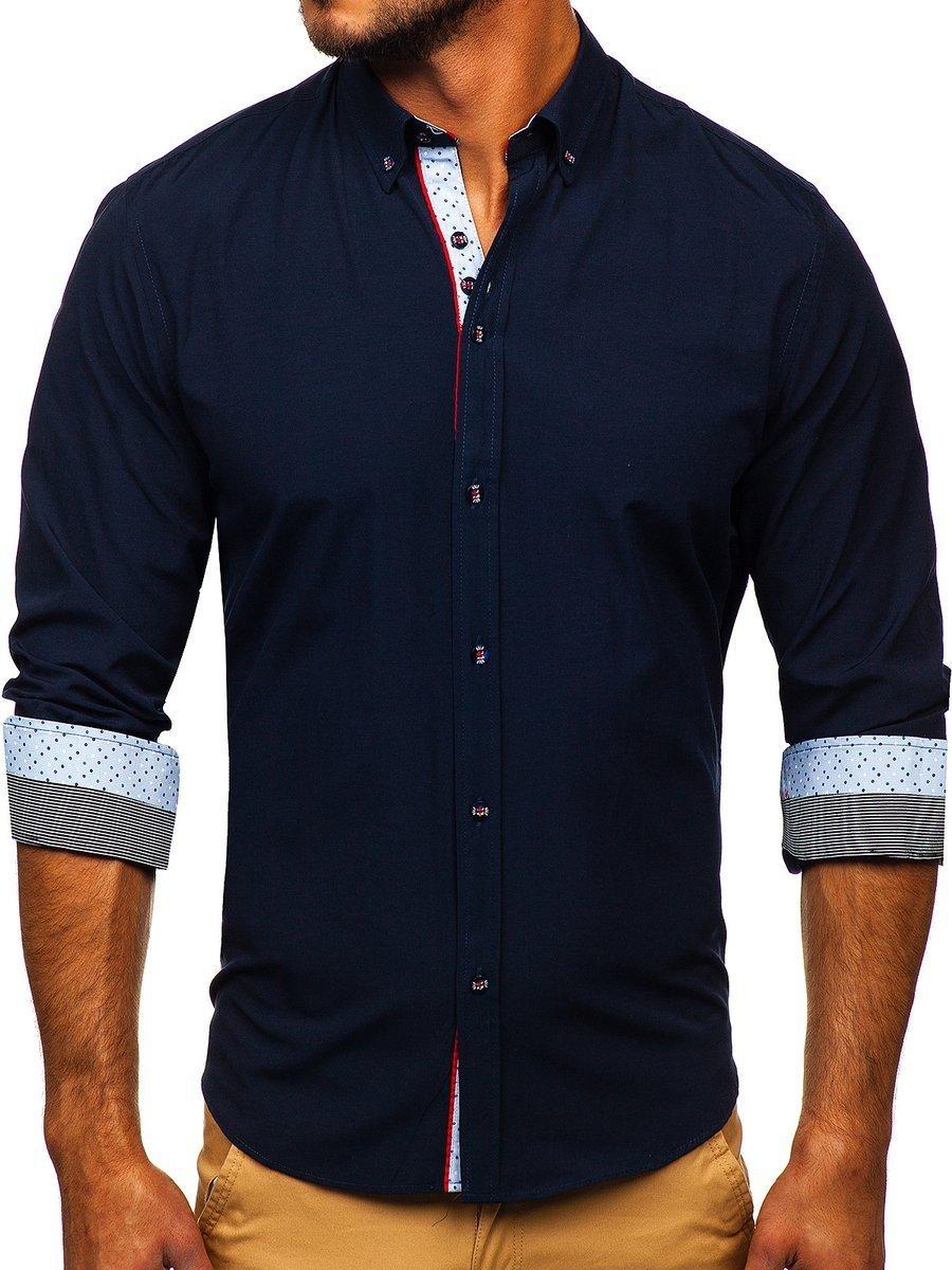 Levně Tmavě modrá pánská elegantní košile s dlouhým rukávem Bolf 8839
