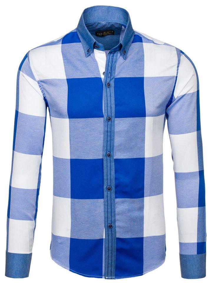Modrá pánská kostkovaná košile s dlouhým rukávem Bolf 7703