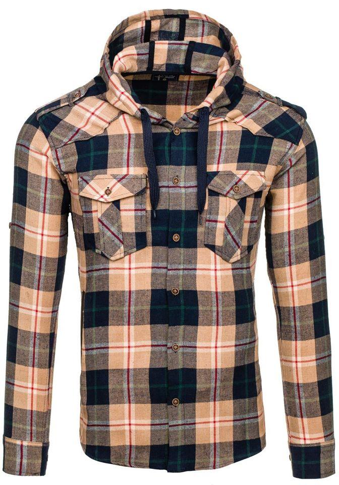 Béžová pánská flanelová košile s dlouhým rukávem Bolf 2500