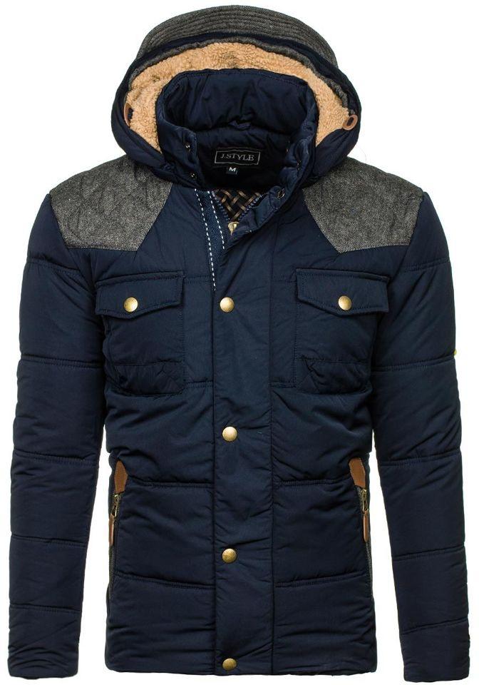 Tmavě modrá pánská zimní bunda Bolf 3077