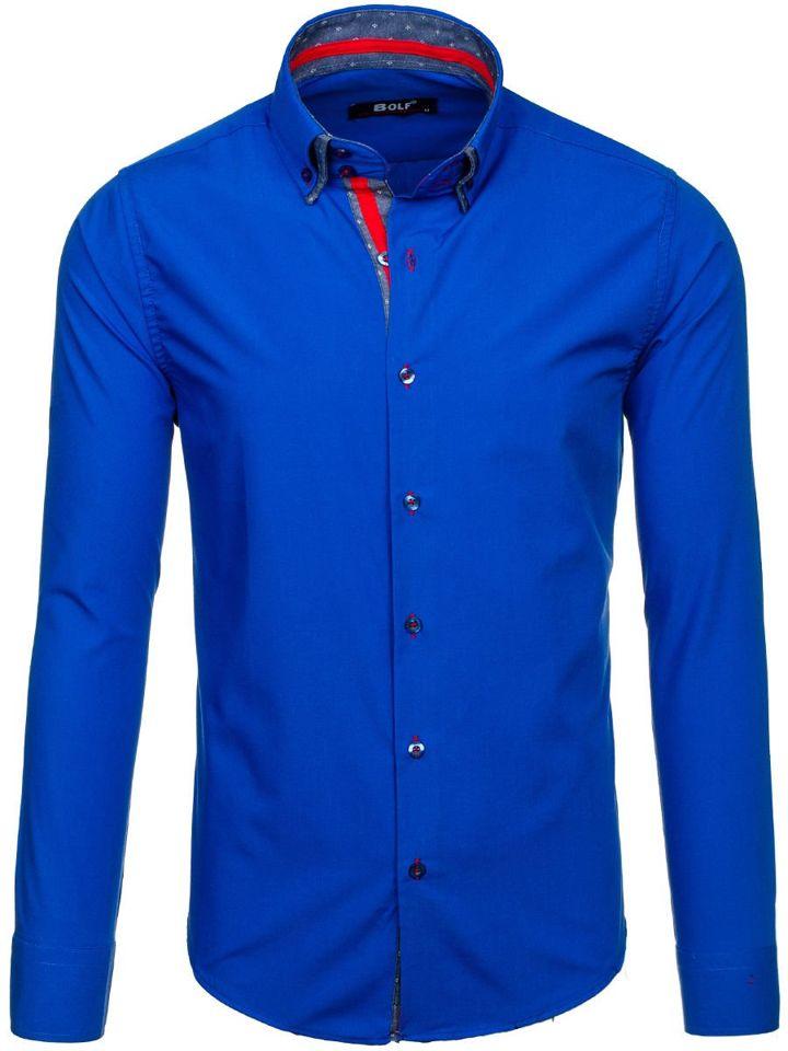 Kralovský modrá pánská elegantní košile s dlouhým rukávem Bolf 6965