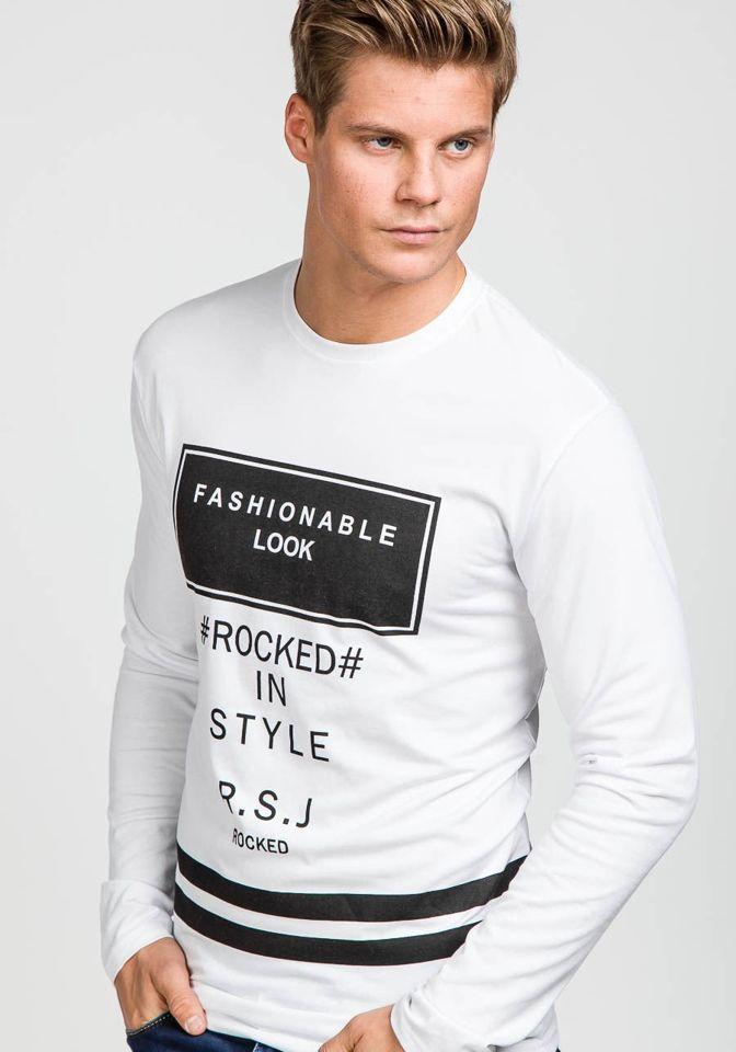 ce062d2e935 Bílé pánské tričko s dlouhým rukávem a potiskem Bolf 110