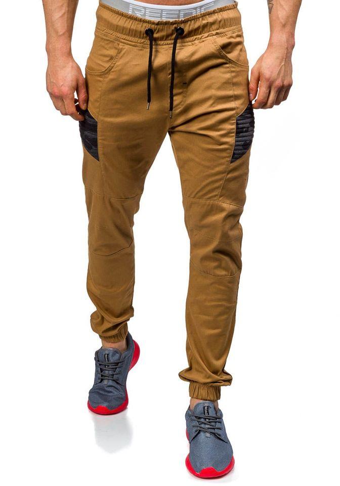 Pánské kamelové jogger kalhoty Bolf 0706