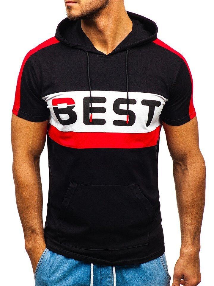 Černé pánské tričko s potiskem a kapucí Bolf 5798