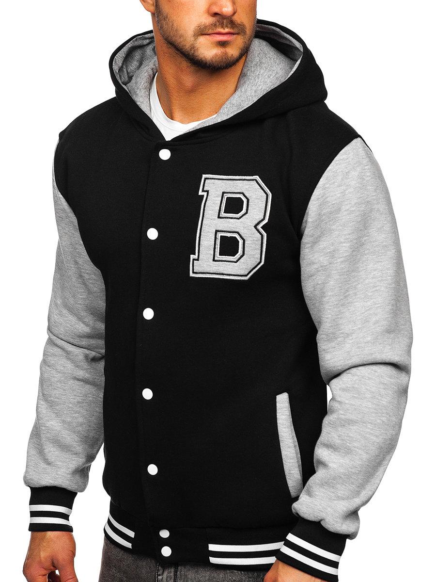 Černá pánská mikina na zip s kapucí a potiskem baseball Bolf 07