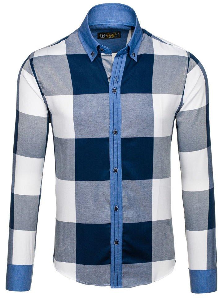 Tmavě modrá pánská kostkovaná košile s dlouhým rukávem Bolf 7703