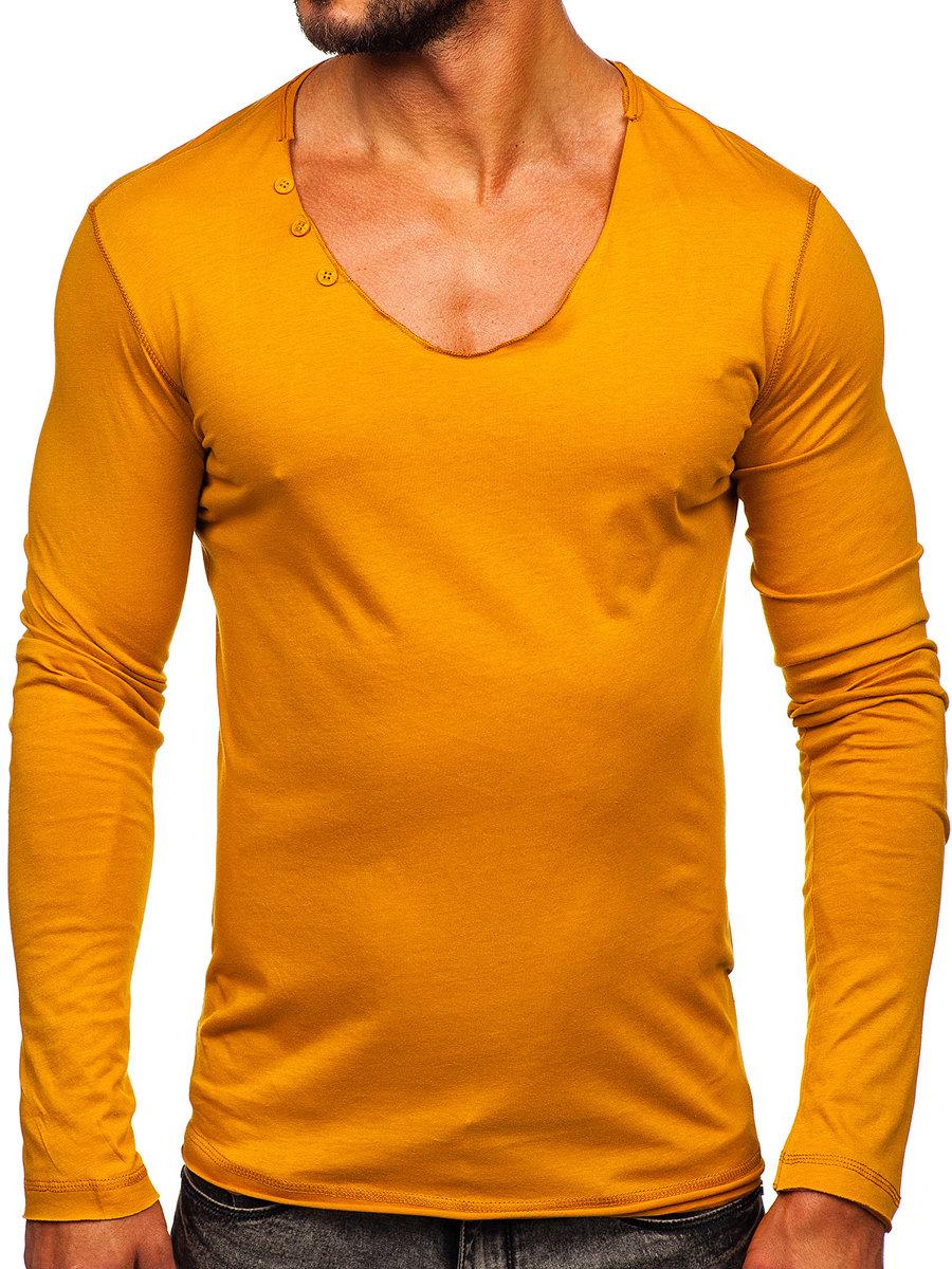 566e326cee3 Hořčícové pánské tričko s dlouhým rukávem bez potisku Bolf 547