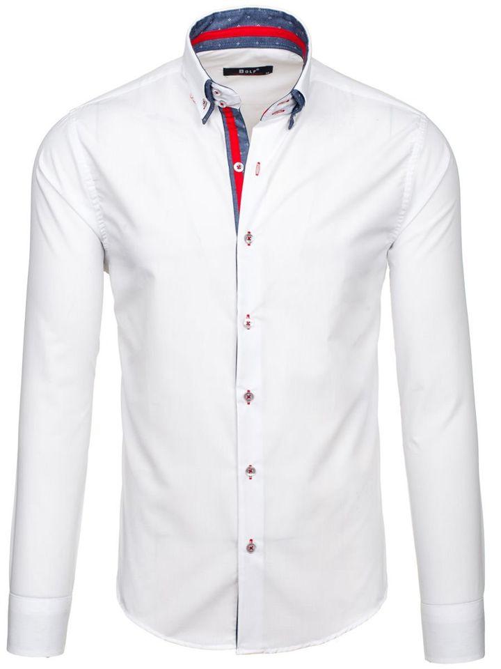 Bílá pánská elegantní košile s dlouhým rukávem Bolf 6965
