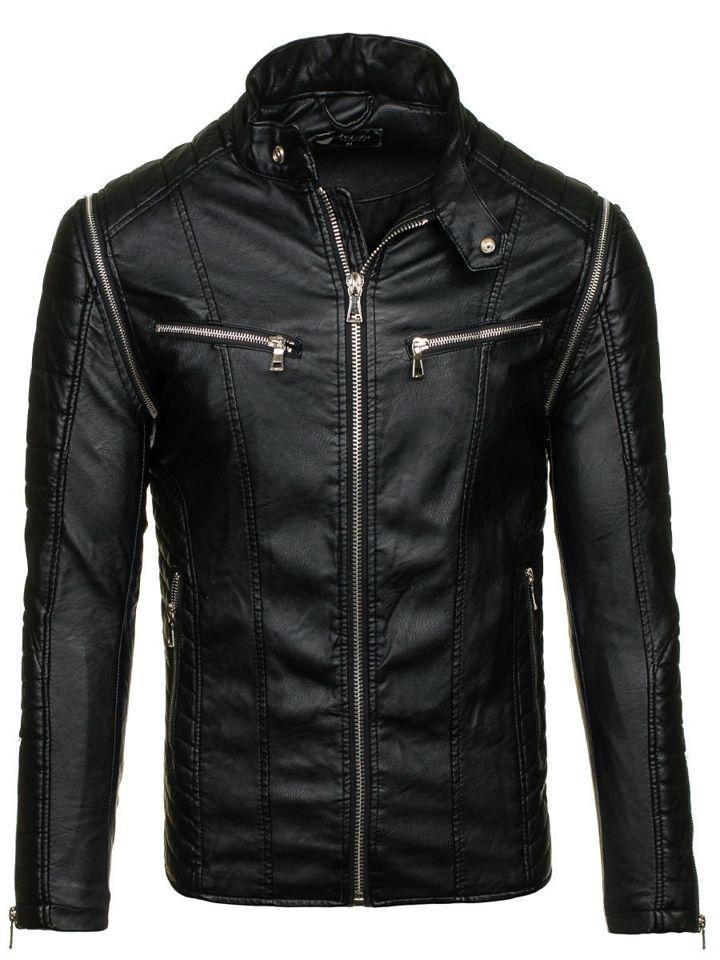 Černá pánská kožená bunda z ekokůže Bolf 9188