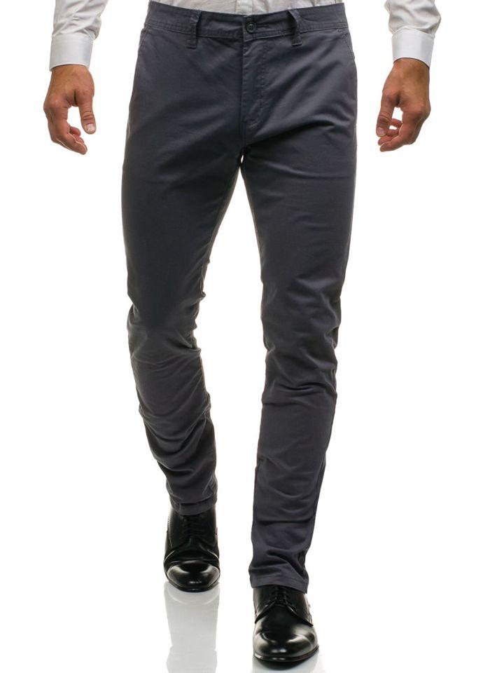 Spodnie chinosy męskie szare Denley 6807