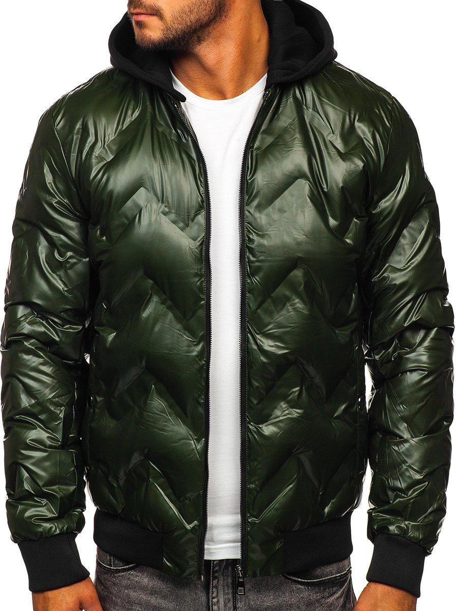 Levně Zelený pánský zimní bomber s kapucí Bolf 6590