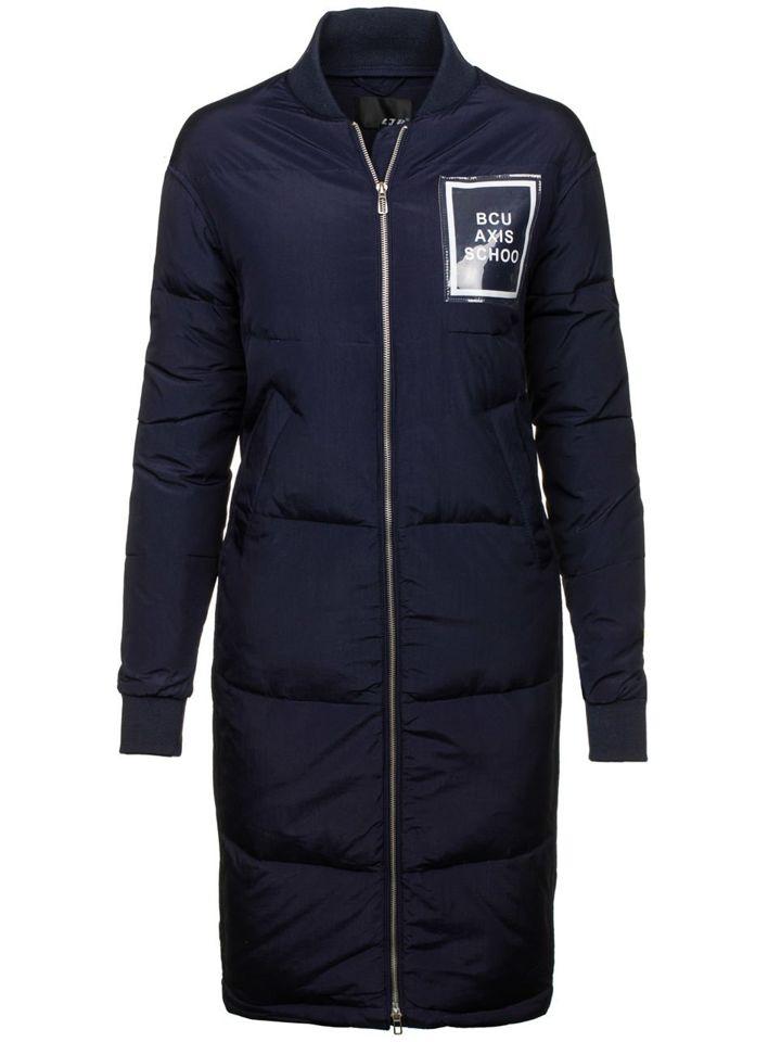 Tmavě modrý dámský zimní kabát Bolf 8068