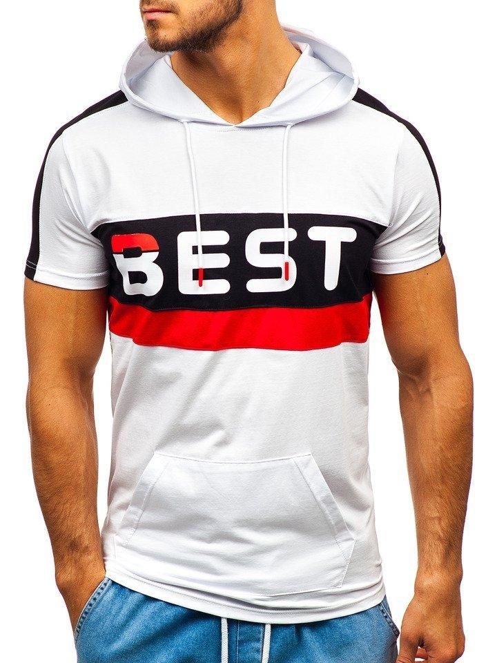 Bílé pánské tričko s potiskem a kapucí Bolf 5798