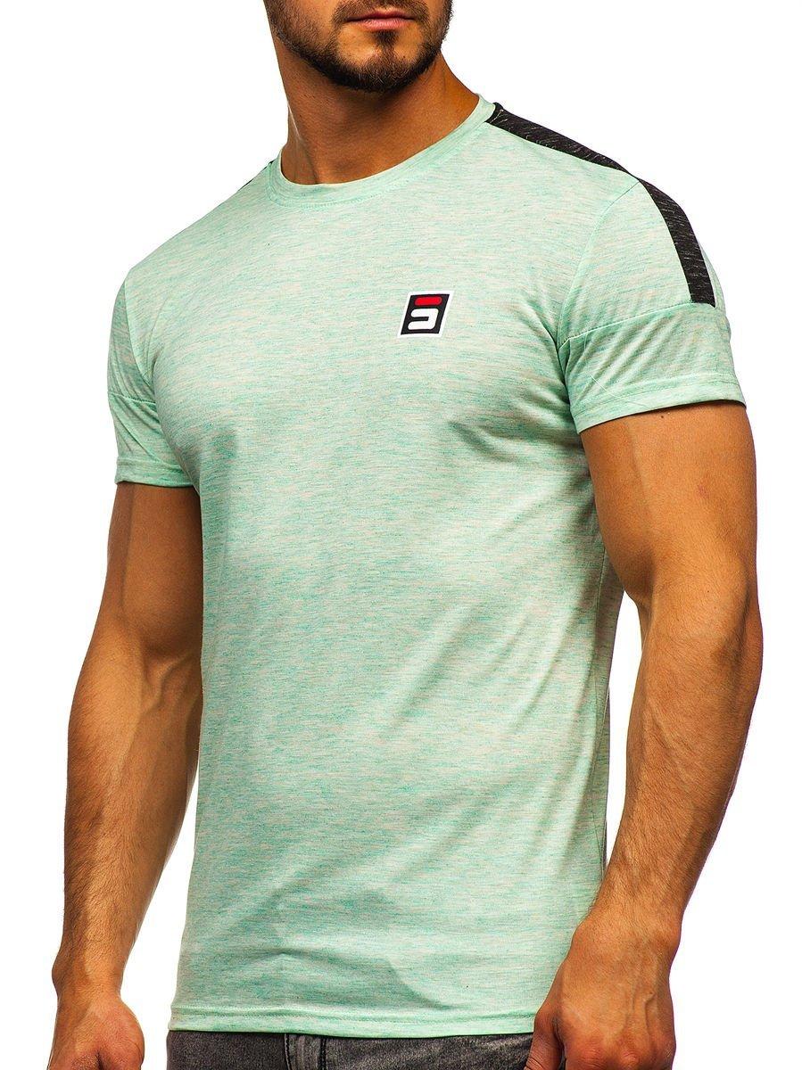 Levně Mátové pánské tričko s potiskem Bolf SS11127