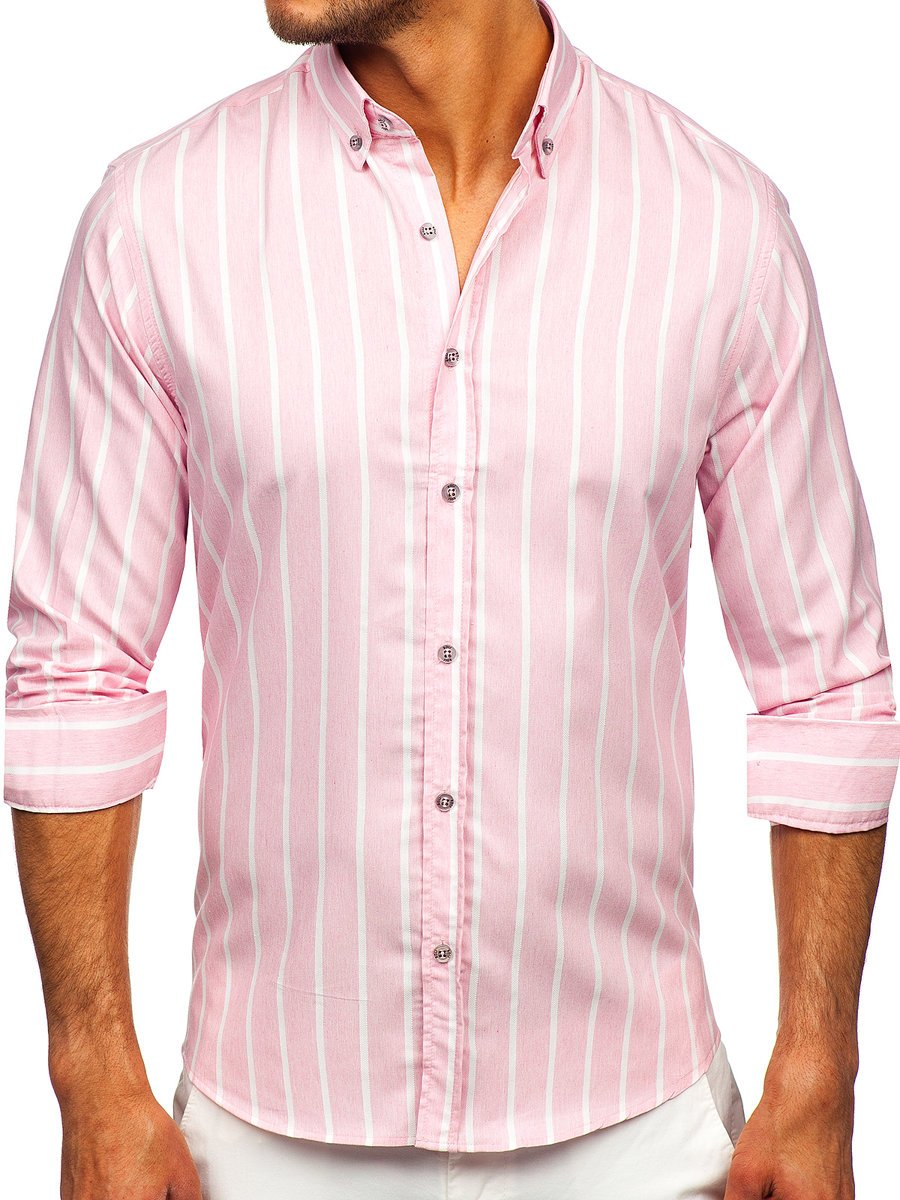 Růžová pánská pruhovaná košile s dlouhým rukávem Bolf 20730
