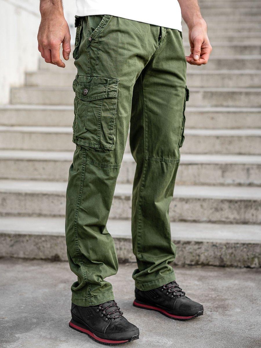 Zelené pánské kapsáče s páskem Bolf CT8906