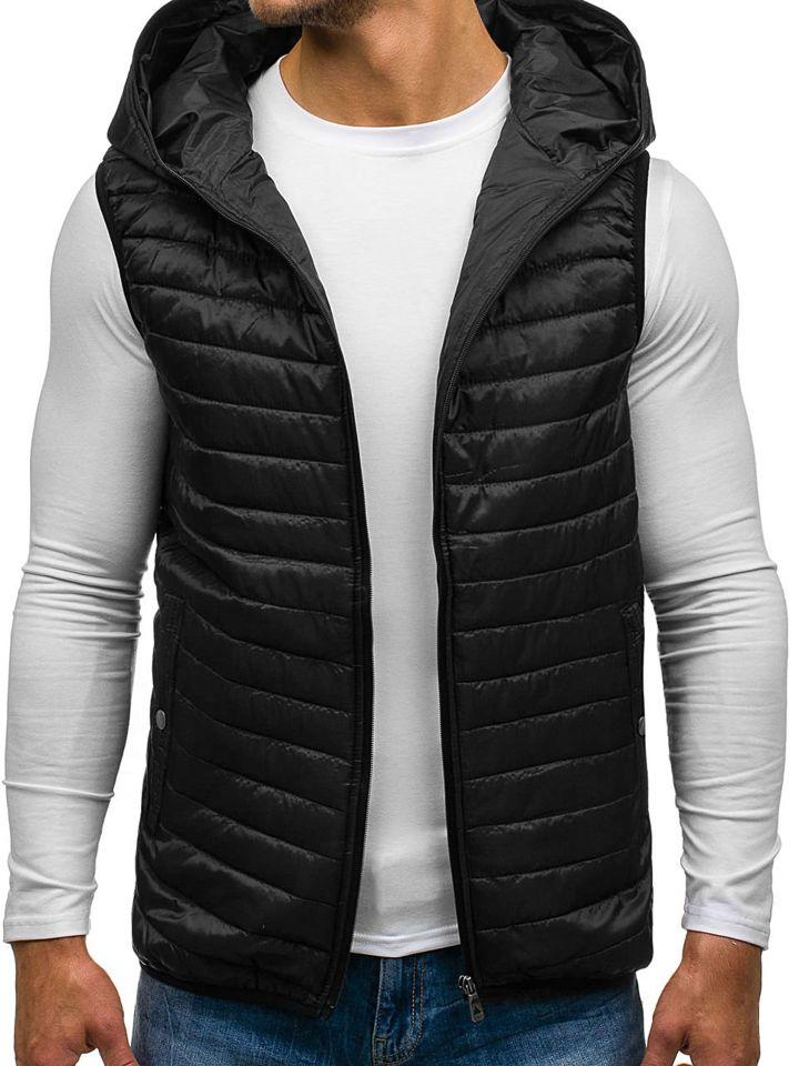 Černá pánská prošívaná vesta s kapucí Bolf 1001