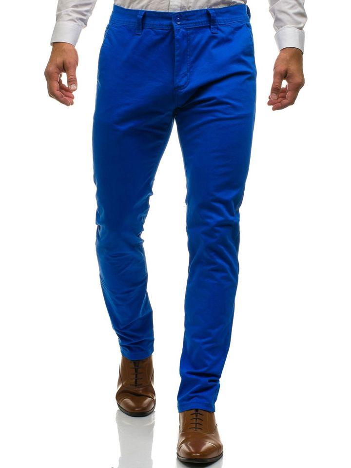 Spodnie chinosy męskie niebieskie Denley 6807