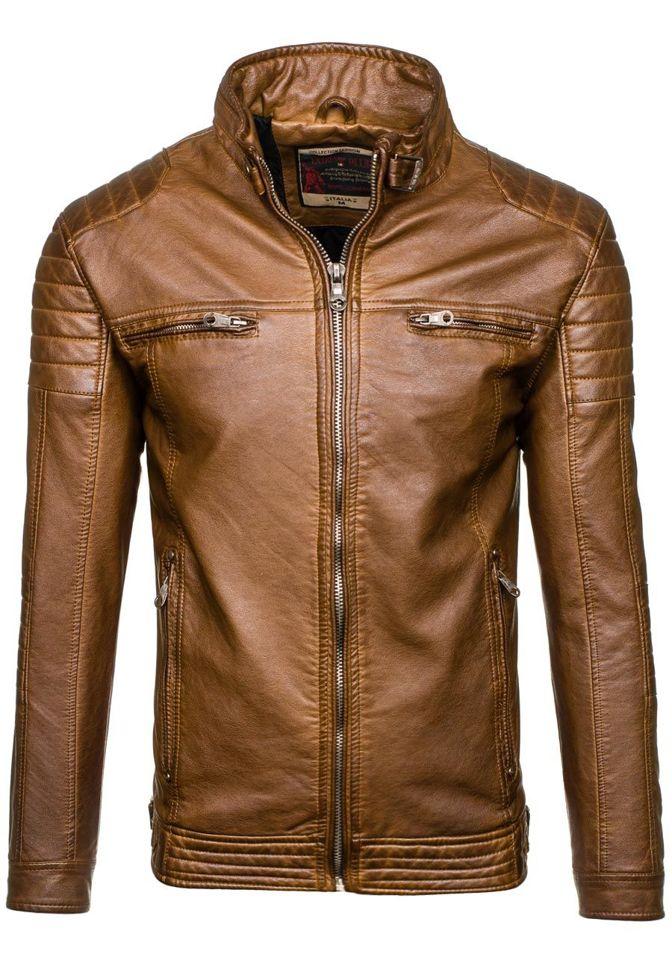 Hnědá pánská kožená bunda z ekokůže Bolf EX357K